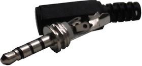 KLS1-PLG-003-3.5-N-B (AUD-13), Штекер аудио 3.5мм, 4 контакта, стерео, пластиковый корпус
