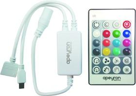 04-29 Контроллер для светодиодной ленты RGBW, 72Вт, 12-24В, 4*1.5A/канал, IP20, пульт кнопочный ИК,