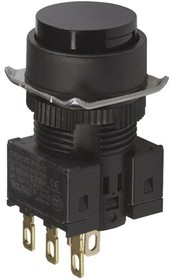 A16-TBM-1, Pushbutton, IP40 RND BLK