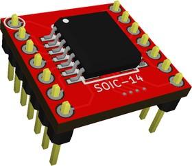 Фото 1/3 Адаптер SOIC 14 (SSOP 14) / DIP 14, Универсальный переходник из SOIC 14 и SSOP 14 к DIP 14