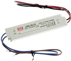 Фото 1/4 LPH-18-12, AC/DC LED, 12В,1.5А,18Вт,IP67 блок питания для светодиодного освещения