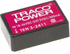 TEN 3-2411, DC/DC преобразователь, 3Вт, вход 18-36В, выход 5В/500мА
