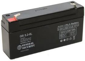 GS3.2-6, Аккумулятор свинцовый 6B-3.2Ач 134x34x62