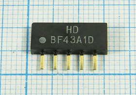 Фильтр на ПАВ 43.75МГц, полоса пропускания 6000кГц/3дБ, ф 43750 \пол\ 6000/3\SIP5D\5P\ HDBF43A1D\DIG/CATV\