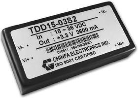 TDD15-12S2, DC/DC преобразователь, 15Вт, вход 18-36В, выход 12В/1.25A