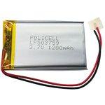 LP503759-PCM, Аккумулятор литий-полимерный (Li-Pol) 1200мАч 3.7В, с защитой, PoliCell
