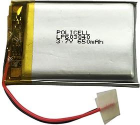 LP603040-PCM, Аккумулятор литий-полимерный (Li-Pol) 650мАч 3.7В, с защитой, PoliCell