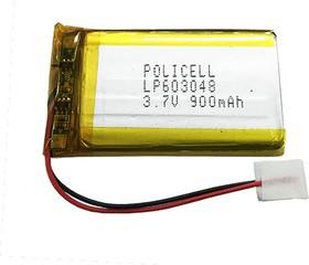 LP603048-PCM, Аккумулятор литий-полимерный (Li-Pol) 900(920)мАч 3.7В, с защитой, PoliCell