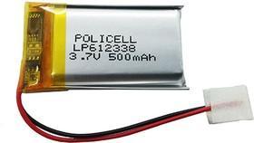 LP612338-PCM, Аккумулятор литий-полимерный (Li-Pol) 500мАч 3.7В, с защитой, PoliCell