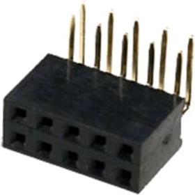 PBD-10R (DS-1024 - 2x5R), Гнездо на плату 2.54мм 2х5 угловое