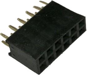 PBD-12 (DS-1023 - 2x6), Гнездо на плату 2.54мм 2х6 прямое