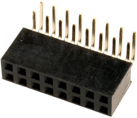 PBD-16R (DS-1024-2x8 - R), Гнездо на плату 2.54мм 2х8 угловое