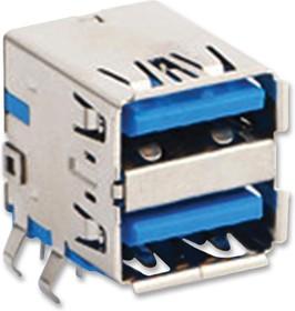 48406-0003, Составной USB разъем, USB Типа A, USB 3.0, 9 вывод(-ов), Прямой Угол, Медный Сплав