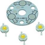 SR-3x1WN, Набор, плата алюминиевая + 3 белых светодиодов1 Вт ...