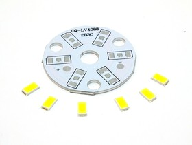 S-7х5735WN(SR6х5735WN), Набор, плата алюминиевая + 6 белых светодиодов 0,5Вт