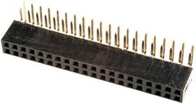 PBD-40R (DS-1024 - 2X20 - R), Гнездо на плату 2.54мм 2х20 угловое