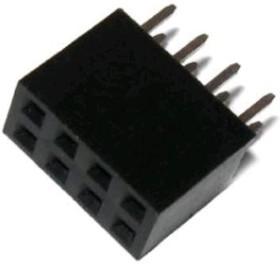 PBD-8 (DS1023 2x4), Гнездо на плату 2.54мм 2х4 прямое