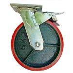 Большегрузное колесо с полиуретановой шинкой С-4102-DUS поворотное, с тормозом ...