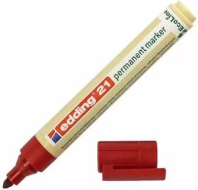 Edding 21#2 (красный), Маркер перманентный EcoLine, круглый наконечник, 1.5-3 мм, заправляемый, блистер