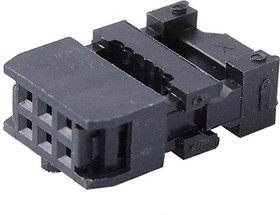 Фото 1/3 IDC-06F, Розетка 2.54мм на шлейф с фиксатором кабеля