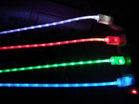 """Фото 1/2 PL1327(PL1328, PL1329,PL1330), Кабель USB2.0 A вилка - Micro USB, """"светящийся"""", цветной, 1м"""