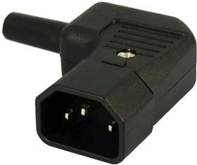 Фото 1/2 AC-101R2 (KLS1-ASS-203-M), Разъем 220в.(п) на кабель, 3 контакта, прямой угол, тип 2