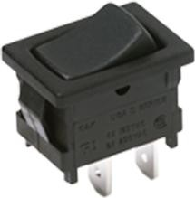 D601J12S205QA, Switch Rocker ON None ON DPDT Quick Connect Curved Rocker 10A 250VAC 30VDC Bulk