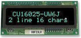 CU16025-UW6J, ВЛ-индикатор, точечно-матричный, 2 x 16, 11.4мм x 51.36мм, параллельный / последовательный, 150мА