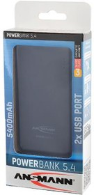 ANSMANN 1700-0066 Powerbank 5400мАч в комплекте с шнуром USB-microUSB BL1, Универсальный внешний аккумулятор