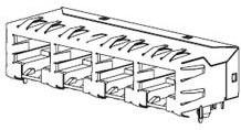 0432238128, Conn RJ-45 F 16 POS 2.54mm Solder RA Thru-Hole 16 Terminal 2 Port Cat 3/Cat 4 Tray