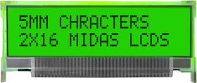 MC21605L6W-SPTLY, Буквенно-цифровой ЖКД, 16 x 2, Черный на Желтом / Зеленом, 5В, Параллельный, Английский, Японский