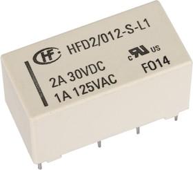 Фото 1/2 HFD2/012-S-L1, Реле 2пер. 12VDC/3A, 250VAC бистабильное 1 катушка