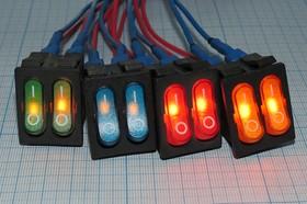 Фото 1/4 Сдвоенный клавишный выключатель с синей индикацией, 220В/15А, №1060 b ПКл\ 6T\15А\2-ON-OFF\\ ILсин\IRS2101-3C