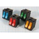 Фото 2/4 Сдвоенный клавишный выключатель с синей индикацией, 220В/15А, №1060 b ПКл\ 6T\15А\2-ON-OFF\\ ILсин\IRS2101-3C