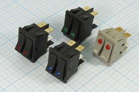 Фото 1/2 Сдвоенный клавишный выключатель с красной индикацией в чёрном корпусе,220В/15А,№10598R ПКл\ 6T\15А\2-ON-OFF\\чер/ ILСдкр\IRS-2101E-1C