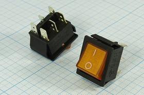 Фото 1/3 Клавишный переключатель 2-х полюсный с жёлтой индикацией, 220В/15А, № 239 Y ПКл\ 6T\15А\ON-ON\\чер/ ILжел\IRS202-1C