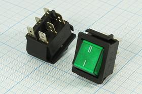 Фото 1/3 Клавишный переключатель 2-х полюсный с зелёной индикацией, 220В/15А, № 239 G ПКл\ 6T\15А\ON-ON\\чер/ ILзел\IRS202-1C