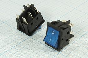 Фото 1/3 Клавишный переключатель 2-х полюсный с синей индикацией, 220В/15А, 239 b ПКл\ 6T\15А\ON-ON\\чер/ ILсин\IRS202-1C