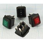 Герметичный клавишный 2-х полюсный переключатель с зелёной подсветкой на три ...