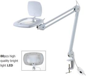 ZD-142A, Лупа на струбцине круглая настольная 3D с LED подсветкой 15Вт, белая