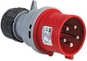 K9045 RED, Разъем Pin & Sleeve, 32 А, 415 В, Монтаж на Кабель, Штекер, 3P+N+E, Красный