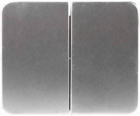 """SV-54134-SM, Выключатель СВЕТОЗАР """"ГАММА"""" двухклавишный, без вставки и рамки, цвет светло-серый металлик, 10A/~25"""