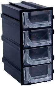 К5 Черный, Ячейки, черный корпус прозрачный контейнер 4 секции, 49х82х100мм
