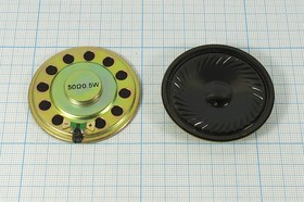 Динамик для радиостанций Таис, диаметр 50мм, толщина 8мм, 50 Ом, 0.5 Вт; № 6465 дин 50x 8\ 50\0,5\мет/пл\2C\TAIS\