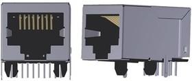 ARJM11B1-009-NN-EW2, Conn RJ-45 F 8 POS 1.27mm Solder RA Thru-Hole 8 Terminal 1 Port Tray