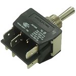 C3972BBAAA, Double Pole Double Throw (DPDT) Toggle Switch, (On)-Off-(On), Panel Mount