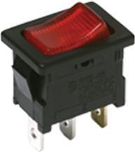 DA102J3RS215QF8, Switch Rocker ON None OFF SPST Quick Connect Curved Rocker 16A 250VAC 372.85VA Bulk