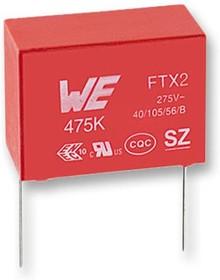 890324026003, Пленочный конденсатор, 0.22 мкФ, 275 В, PP (Полипропилен), ± 10%, Серия WCAP-FTX2