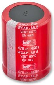 861101485017, Электролитический конденсатор, фиксация защелкой, 150 мкФ, 450 В, Серия WCAP-AIL8, ± 20%