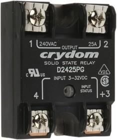 D2425PG, Solid State Relay 12mA 32V DC-IN 25A 280V AC-OUT 4-Pin